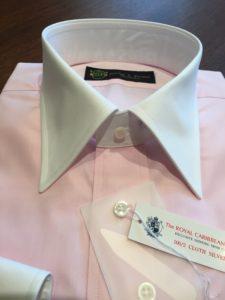 ピンク クレリックシャツ 衿