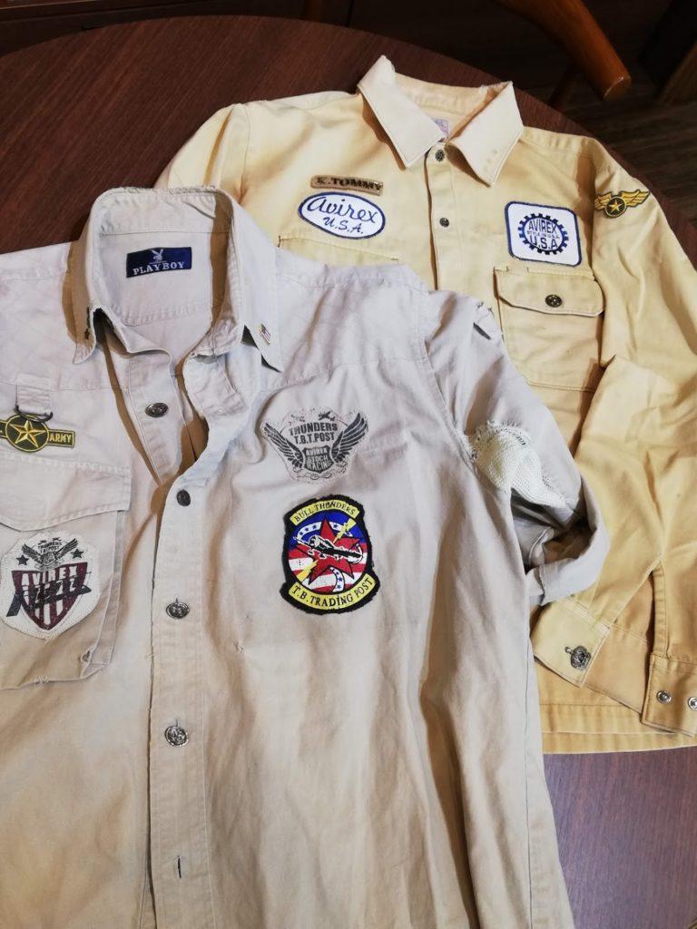 30年以上着ているというミリタリーシャツの破れの修理事例