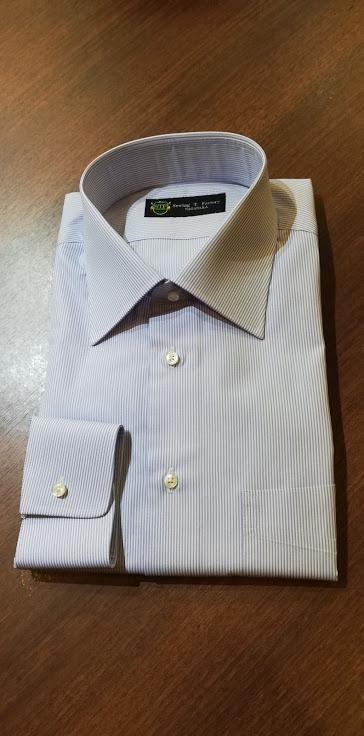 オーダーシャツの出来上がりのご紹介。ロイヤルカリビアンコットン¥14,000+税の事例
