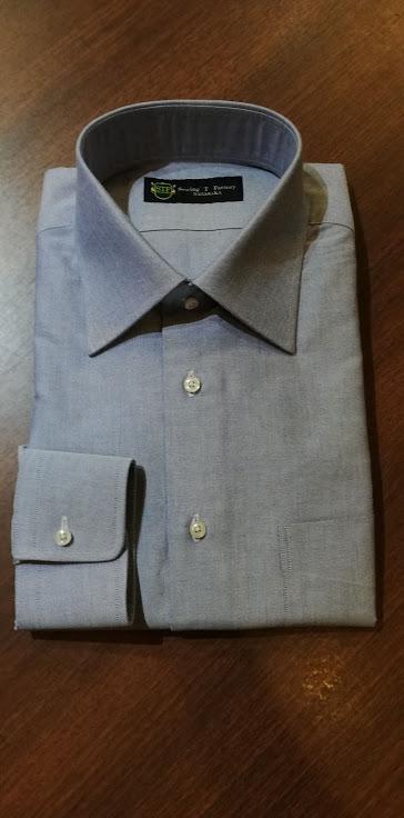 オーダーシャツの出来上がりのご紹介。国産生地¥12,000+税の事例
